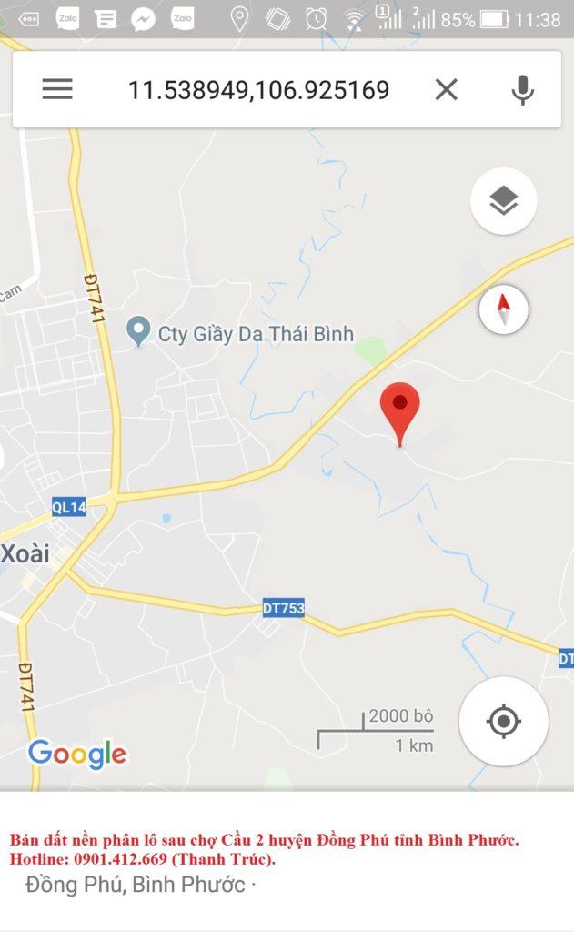 Bán đất nền phân lô sau chợ Cầu 2 huyện Đồng Phú tỉnh Bình Phước